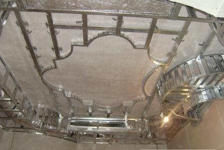 Пример каркасной системы многоуровневого потолка